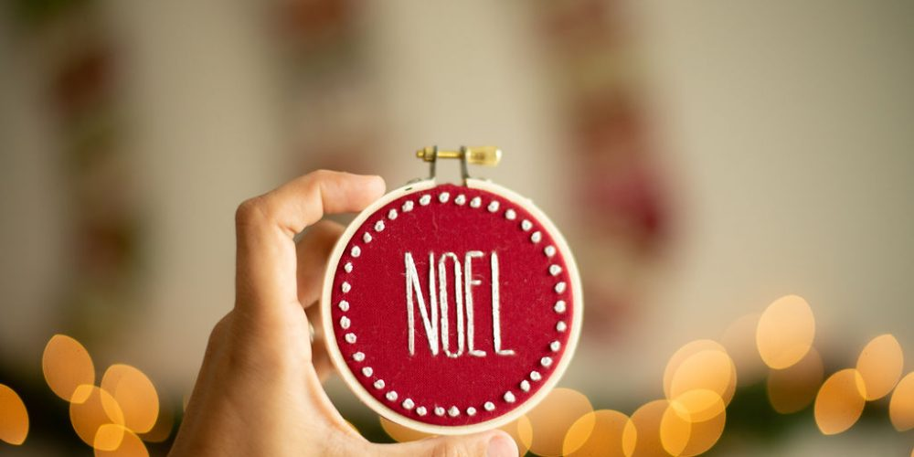 Hand Stitched Hoop Art Ornaments